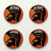Trojan Head Black and Orange background 10mm pocket hankie pin